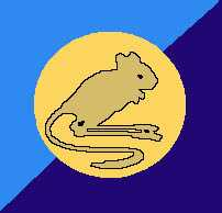 Facsimile of DD (Jerboa) Battery Badge. It is described as a crouching Jerboa in natural fawn on a desert circle background set inside a square of dark and light blue halves (diagonally). The 2 blues represent the parent Batteries, light blue for C Bty and dark blue for F Bty.