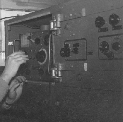 The hinged IF Rack to right of a test signal generator Picture courtesy of Bill Wallace.