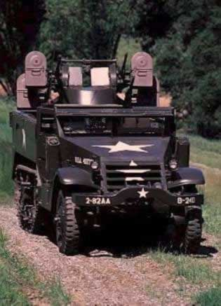 "Front view of M16 Quad 0.5"" AA half-track"