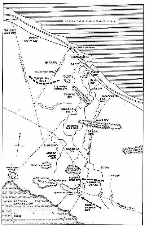 Map of 7th Armoured Divisipn at Al Elamein