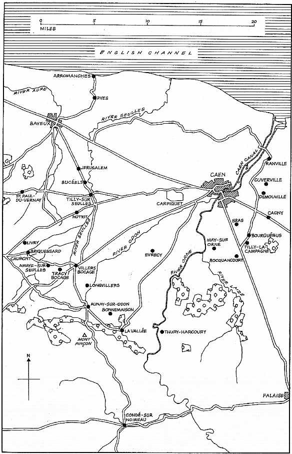 Map of the British and Canadian Normandy Bridgehead