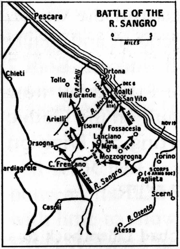 engagements fought by the 4th armoured brigade in 1943 105 Flechette Round map of the battle of the river sangro this also shows the river moro